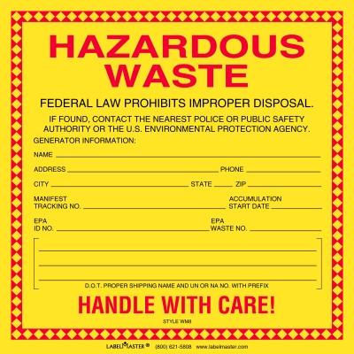 Standard Waste Label Stock Paper 6 Quot X 6 Quot Hazardous