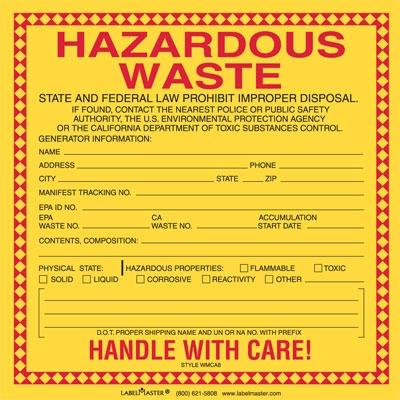 california waste label vinyl - Hazardous Waste Labels