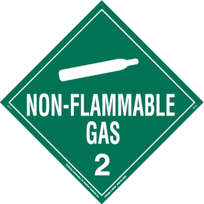 Non-Flammable Gas Permanent Vinyl Worded Placard