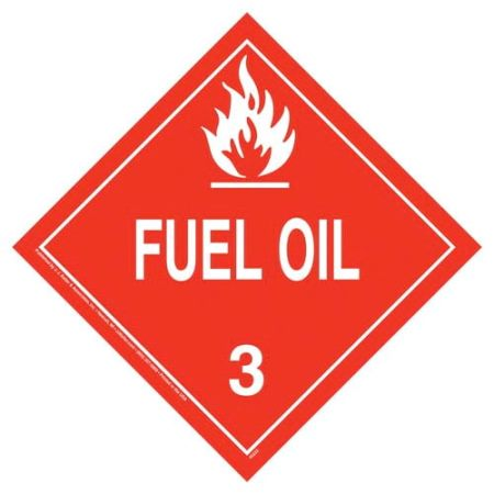 Fuel Oil Permanent Vinyl Worded Placard
