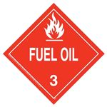 Standard Worded Fuel Oil Class 3 Laminated Tagboard Placard