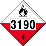 Spontaneously Combustible Placard UN 3190, Removable Vinyl