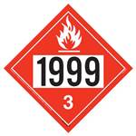 UN 1999 Flammable Liquid Placard - Removable Vinyl