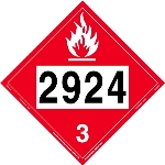 Flammable Liquid Placard UN 2924, Removable Vinyl