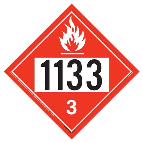 Flammable Liquid Placard UN 1133, Rigid Vinyl