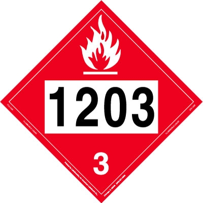 Flammable Liquid Placard UN 1203, Tagboard