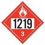 Flammable Liquid Placard UN 1219 - Removable Vinyl