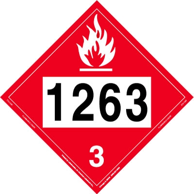 UN 1263 Flammable Liquid Placard, Tagboard