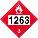 Flammable Liquid Placard UN 1263, Removable Vinyl