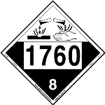 Corrosive Placard UN 1760, Removable Vinyl