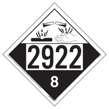 UN 2922 Corrosive Placard, Removable Vinyl