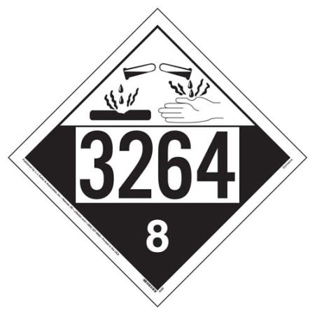 Corrosive Placard UN 3264, Removable Vinyl
