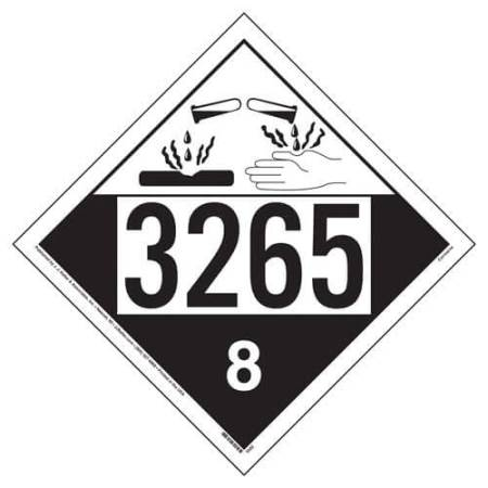 UN 3265 Corrosive Placard, Removable Vinyl