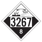 Corrosive Placard UN 3267, Removable Vinyl