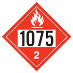 UN 1075 Flammable Gas Placard, Tagboard