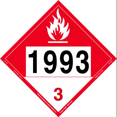 Combustible Liquid Placard UN 1993, Rigid Vinyl