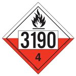 UN 3190 Spontaneously Combustible Placard, Removable Vinyl