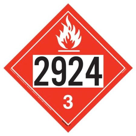 UN 2924 Flammable Liquid Placard, Removable Vinyl