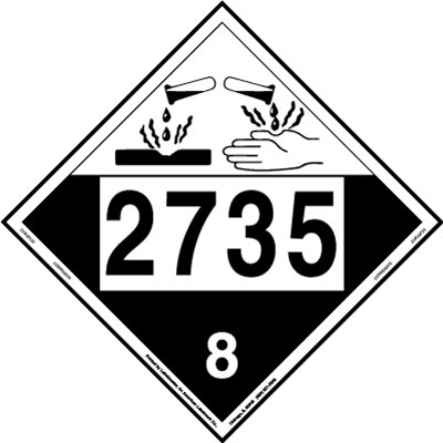 UN 2735 Corrosive Placard, Removable Vinyl