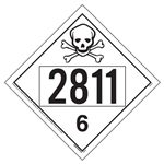UN 2811 Toxic Placard, Removable Vinyl