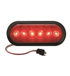 "Redline 6"" Oval LED Stop Turn Tail Light w Grommet & Pigtail"