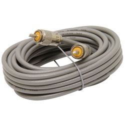 Astatic 18' RG8X Cable w PL259 Connectors, Grey
