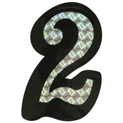 Number 2 Prism Style Adhesive Number