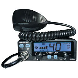 President Electronics 12/24-Volt CB Radio with 7 Color LCD Display