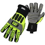 CAT Hi-Visibility High Impact Gloves, Synthetic Palm
