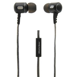 MobileSpec Premium Stereo Metal Earbuds with In Line Mic, Black/Graphite