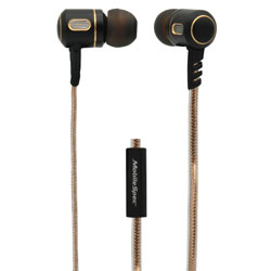 MobileSpec Premium Stereo Metal Earbuds with In Line Mic, Gold/Graphite