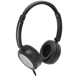 MobileSpec Stereo Folding Headphones with In Line Mic, Black