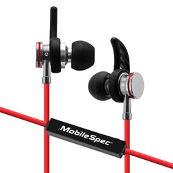 MobileSpec Bluetooth Wireless Earbuds with In Line Mic, Red/Black