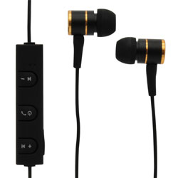MobileSpec Bluetooth Wireless Earbuds with In Line Mic, Black/Gold