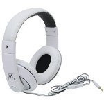MobileSpec Chords Stereo Headphones with In Line Mic, White/Black