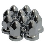 33mm Flanged Chrome Plated ABS Plastic Lug Nut Covers, 10 Pack