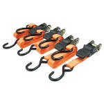"RoadPro 1"" x 15' Ratchet Tie Downs, Anti Scratch Hooks, Orange 4 Piece"