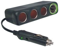 "TruckSpec 12 Volt 4 Outlet Cigarette Lighter Adapter with 30"" Cord"