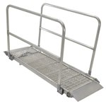 "Aluminum Grip-Strut Walk Ramp, Hand Rails, 29"" x 734"""