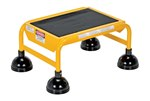 Spring Loaded Roll Ladder, 1 Rubber Step, Yellow