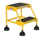 Spring Loaded Roll Ladder, 2 Rubber Steps, Yellow