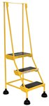 Spring Loaded Roll Ladder, 3 Rubber Steps, Yellow