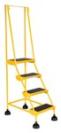 Spring Loaded Roll Ladder, 4 Rubber Steps, Yellow
