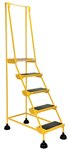 Spring Loaded Roll Ladder, 5 Rubber Steps, Yellow