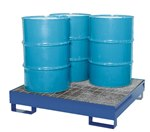 Vertical Drum Retention Basin, Holds 4 Drums, Blue
